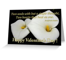 2 lilies 2 hearts valentine card Greeting Card