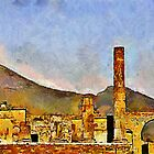 Ruins of Pompeii & Vesuvius by buttonpresser