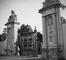 Lion Gate, Hampton Court Black and White by Dave Godden