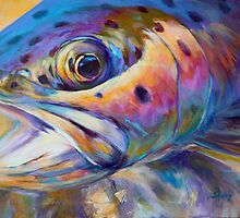Face of A Rainbow- Rainbow Trout Portrait by Mike Savlen