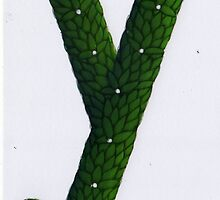 "Topiary Alphabet ""y "" Coloured by Donna Huntriss"