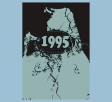 1995 Blue, black retro vintage T-shirt by Nhan Ngo