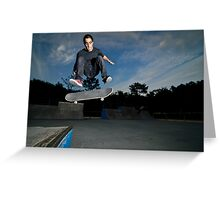 Skateboarder on a flip trick Greeting Card