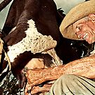 Cuban farmer milking his cow by Henny Boogert