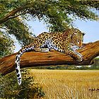 A Painting of an African curious leopard on a tree branch by Mutan