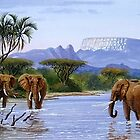 A Painting of African Elephants a river by Mutan