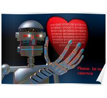 Be My Valentine Robot Poster