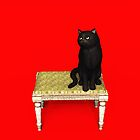 Black Cat on stool iPhone/iPod/Samsung by Roberta Angiolani
