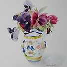Pansies in Quimper pot by Beatrice Cloake