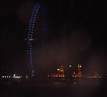 London eye/night view -(030112)- digital photo by paulramnora