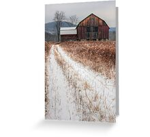 Old Rustic Barn and Snow Greeting Card