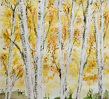 Birch grove in autumn by Celeste Mookherjee