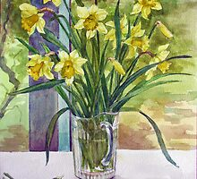 Daffodils in a jug by Joyce Grubb