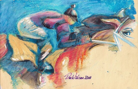 Jockey and racehorse by Dan Wilcox