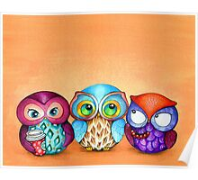 Autumn Owl Trio Poster