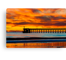 Venoco Ellwood Pier, in Bacara beach CA during sunset Canvas Print