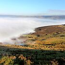 Fog-shrouded Glossop with Bleaklow in the distance by Mark Smitham