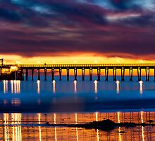 Venoco Ellwood Pier,  Bacara (haskell's) beach Goleta  at sunset by Eyal Nahmias