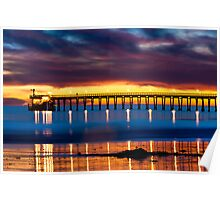 Venoco Ellwood Pier,  Bacara (haskell's) beach Goleta  at sunset Poster