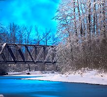 Railroad Bridge over the Wallace River (color) by Jim Stiles