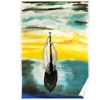 Sailing into the sunset, watercolor Poster