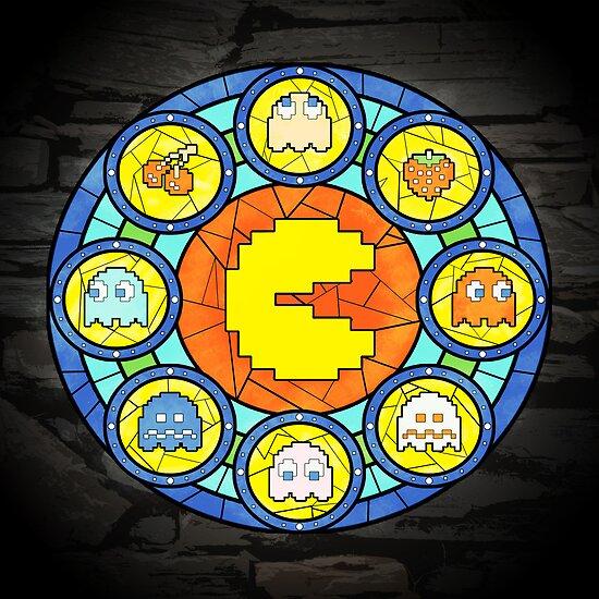 In the House of Wakka Wakka Wakka - Pac-man Stained Glass by AcidCrashX