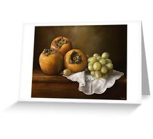 Classic Still Life with Persimmons and Grape Greeting Card