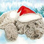 Christmas Chocolate Labradoodle Pup by Yvonne Carter
