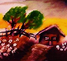 Cabin on a hill,watercolor by Anna  Lewis