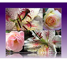 Roses and Lilies Collage in Reflection Frame Photographic Print