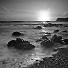 Scalby Bay Sunrise B&W by ThePingedHobbit