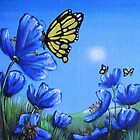 Butterfly on Blue Poppy by Cherie Roe Dirksen