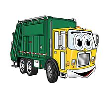 Green Gold Smiling Garbage Truck Cartoon Photographic Print