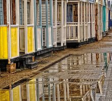 Reflection of Beach Huts by Karen  Betts