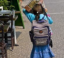 Girl with Accordion Sunshade by Rhoufi