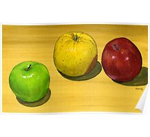 Fancy Apple Trio Poster