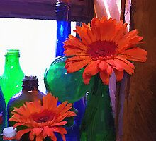 Flowers and Jars by artstoreroom