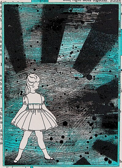 Retro girl with turquoise & black by Arrin Kartel
