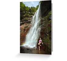 Young sexy beautiful girl stands at nature waterfall location 1 Greeting Card