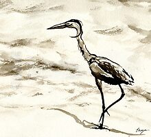 Graceful - Crane Wildlife Japanese Brush Painting by Brazen Edwards-Hager