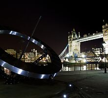 Sun Dial and Tower bridge by DavidHornchurch