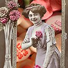Vintage Valentine's Day Collage (Candy Hearts Lady) by Welte Arts & Trumpery