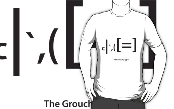 the grouch type t-shirt by pigswing