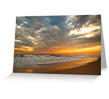 New Years Eve Sunset 2011 Robert Moses Beach Long Island NY Greeting Card