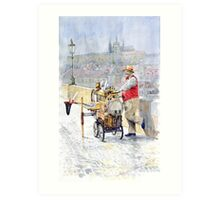 Prague Charles Bridge Organ Grinder-Seller Happiness  Art Print