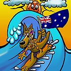 Aussie surfing kangaroo mum. by NHR CARTOONS .