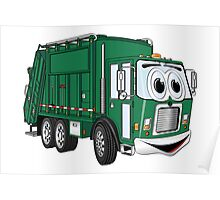 Green Smiling Garbage Truck Cartoon Poster