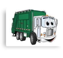 Green Cartoon Garbage Truck Canvas Print