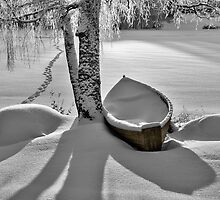 Path and Snowy Rowboat by Ari Salmela
