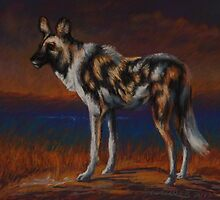 African Wild Dog Pastel Painting by Sue Deutscher